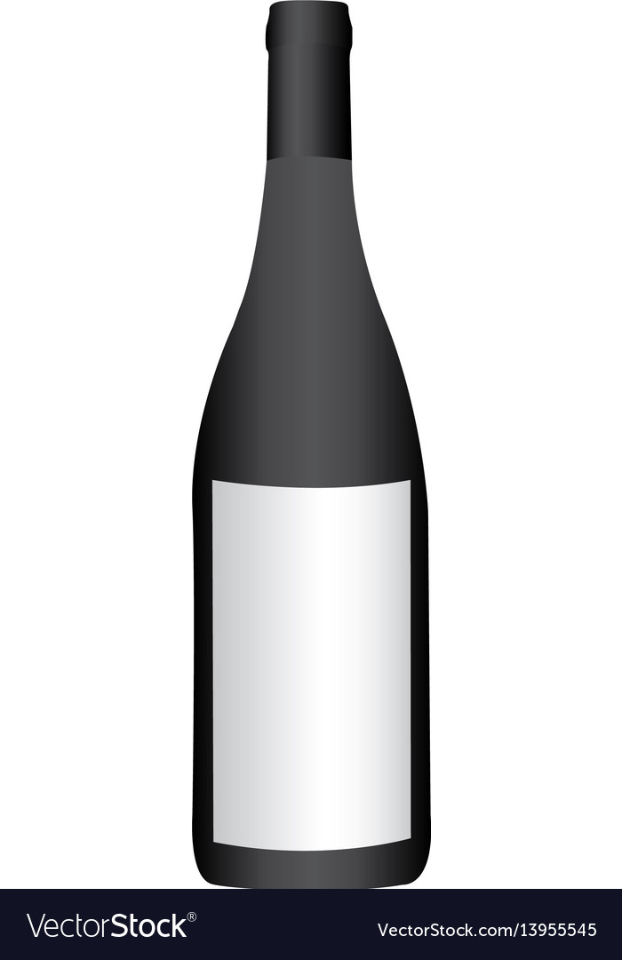 Colorful realistic wine bottle with label