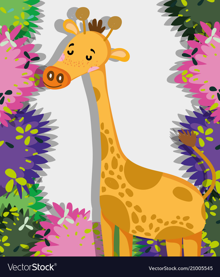 Cute Giraffe Wildlife Animal Royalty Free Vector Image