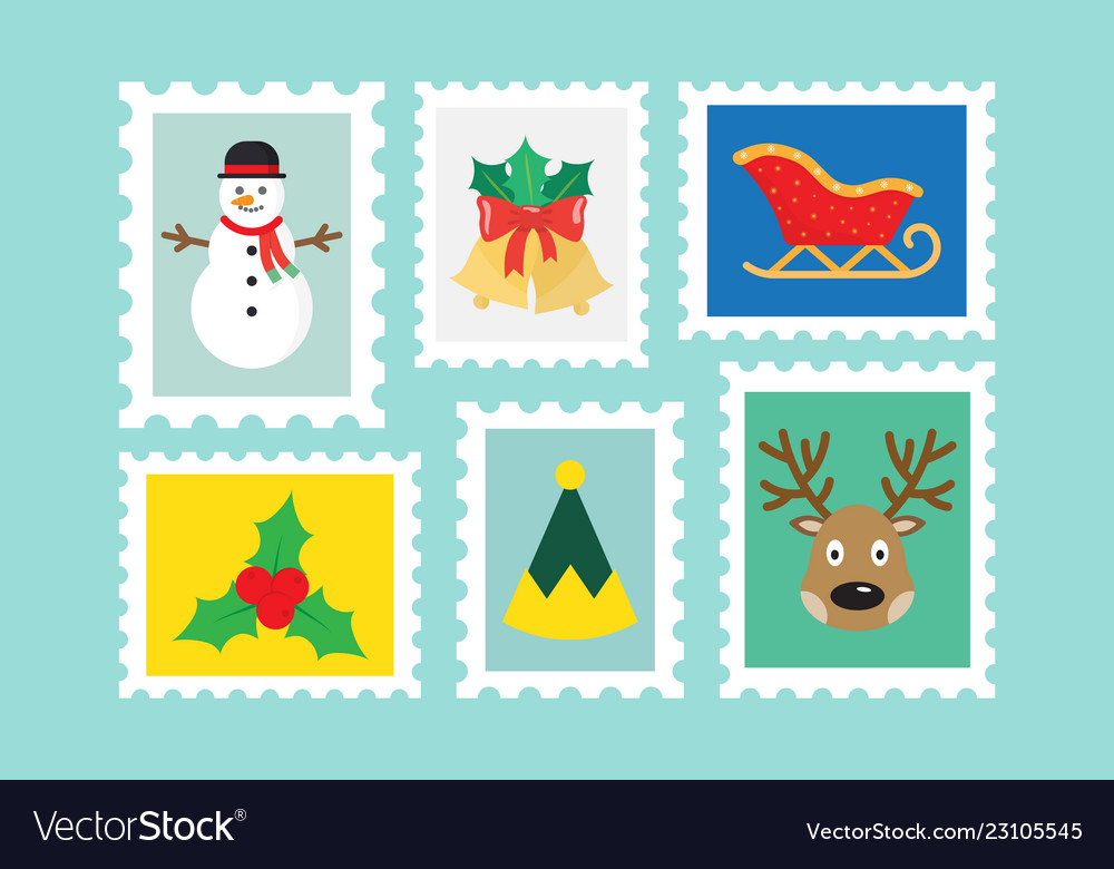 Different christmas postage stamps