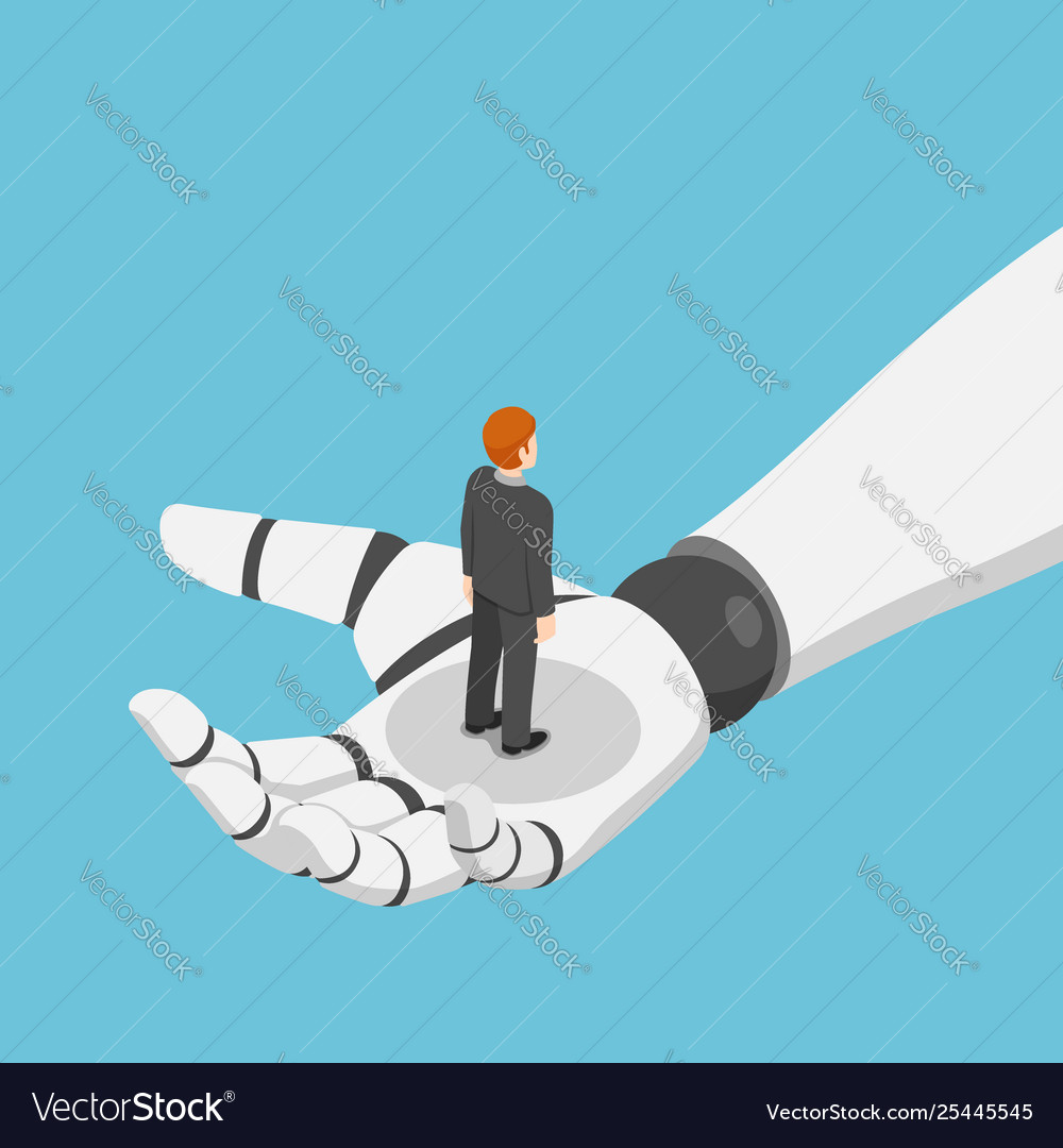 Isometric businessman standing in ai robot hand
