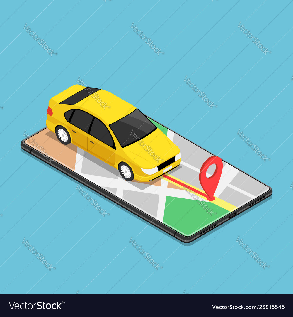 Isometric car use gps map navigation application