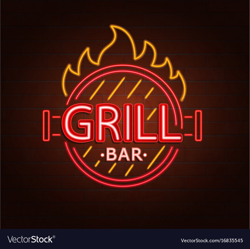 Neon sign of grill bar