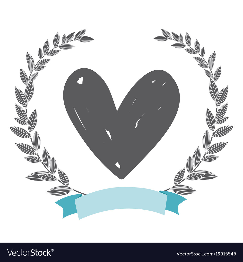Rustic Heart With Leaves Hand Drawn Vector Image