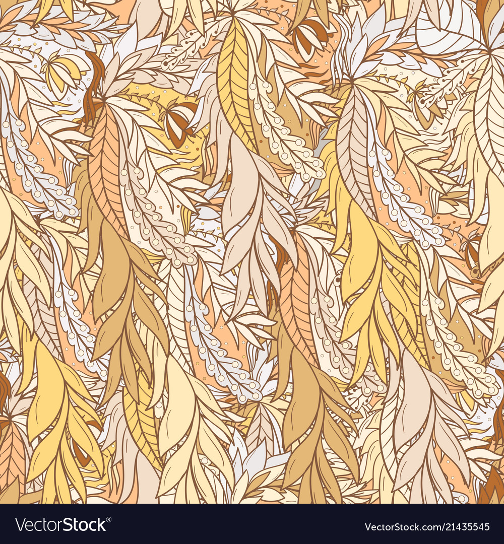 Seamless pattern background with abstract leaves