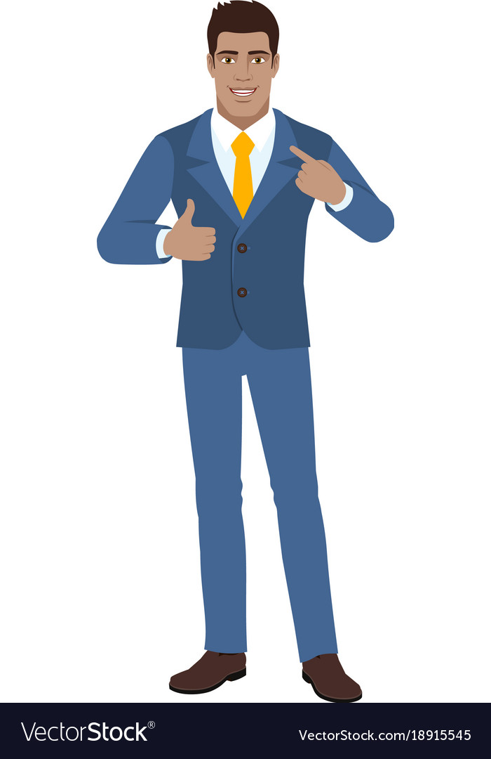 self promotion businessman pointing the finger at vector image