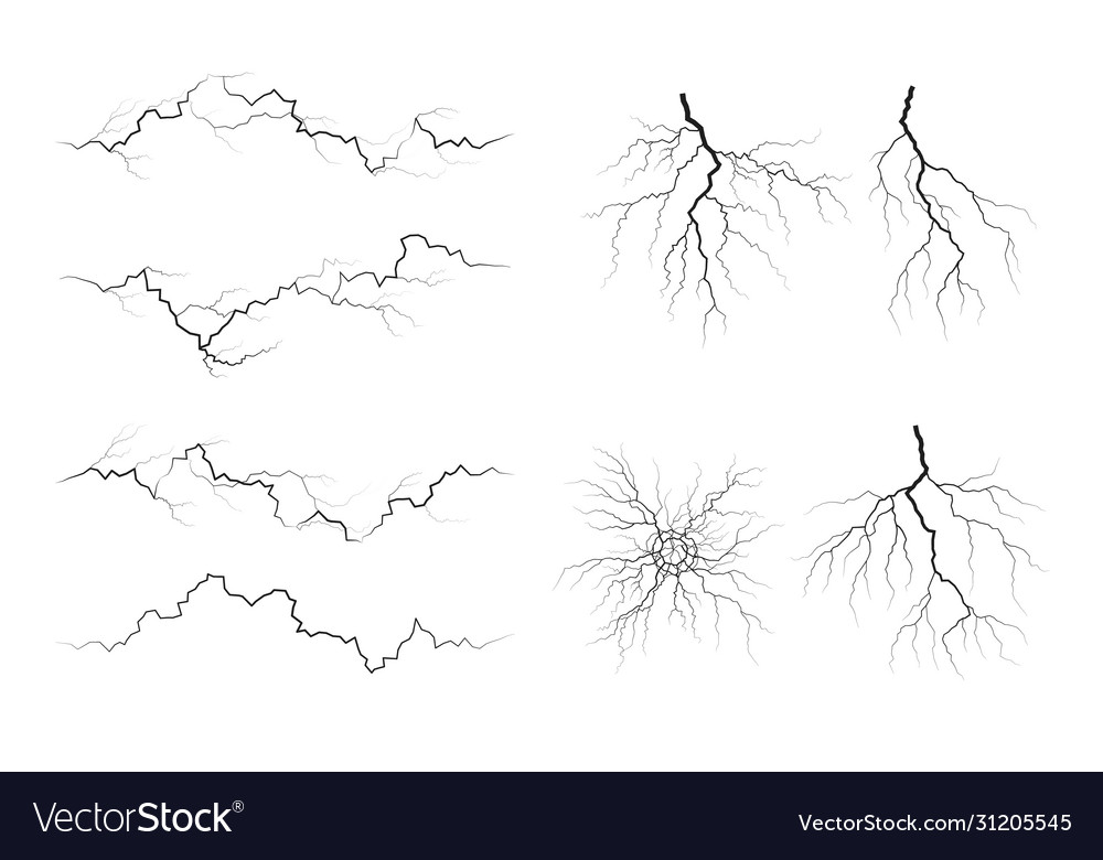 Set lightning silhouettes thunderstorm
