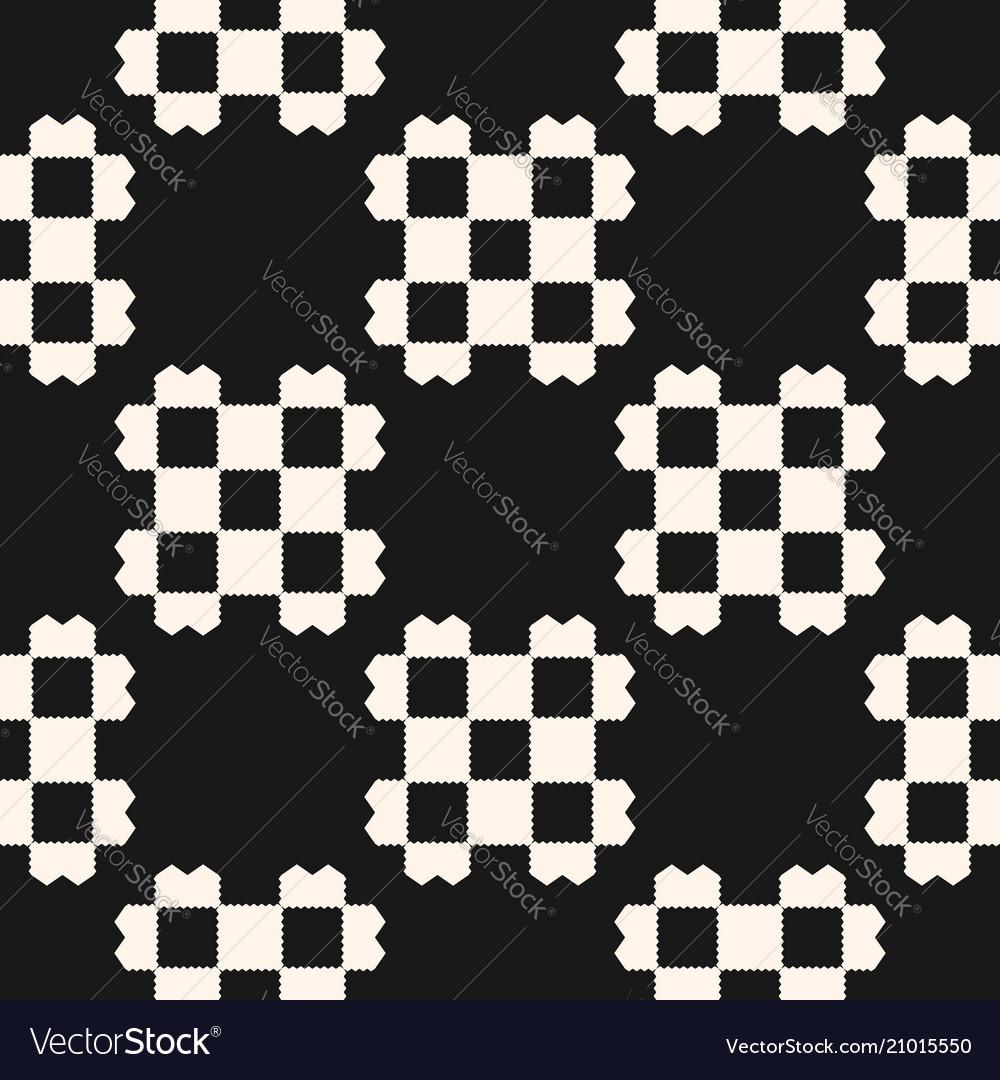Black and white geometric checkered seamless