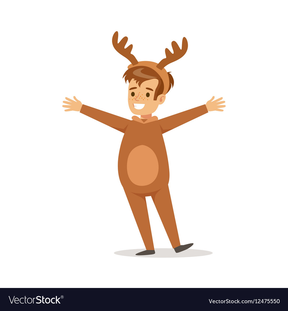 Boy In Raindeer Outfit Dressed As Winter Holidays