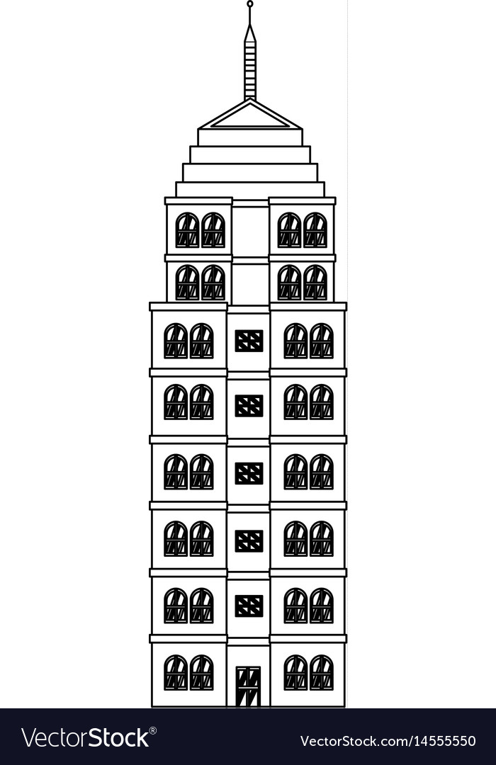 Building Hotel Architecture Facade Image Outline Vector Image