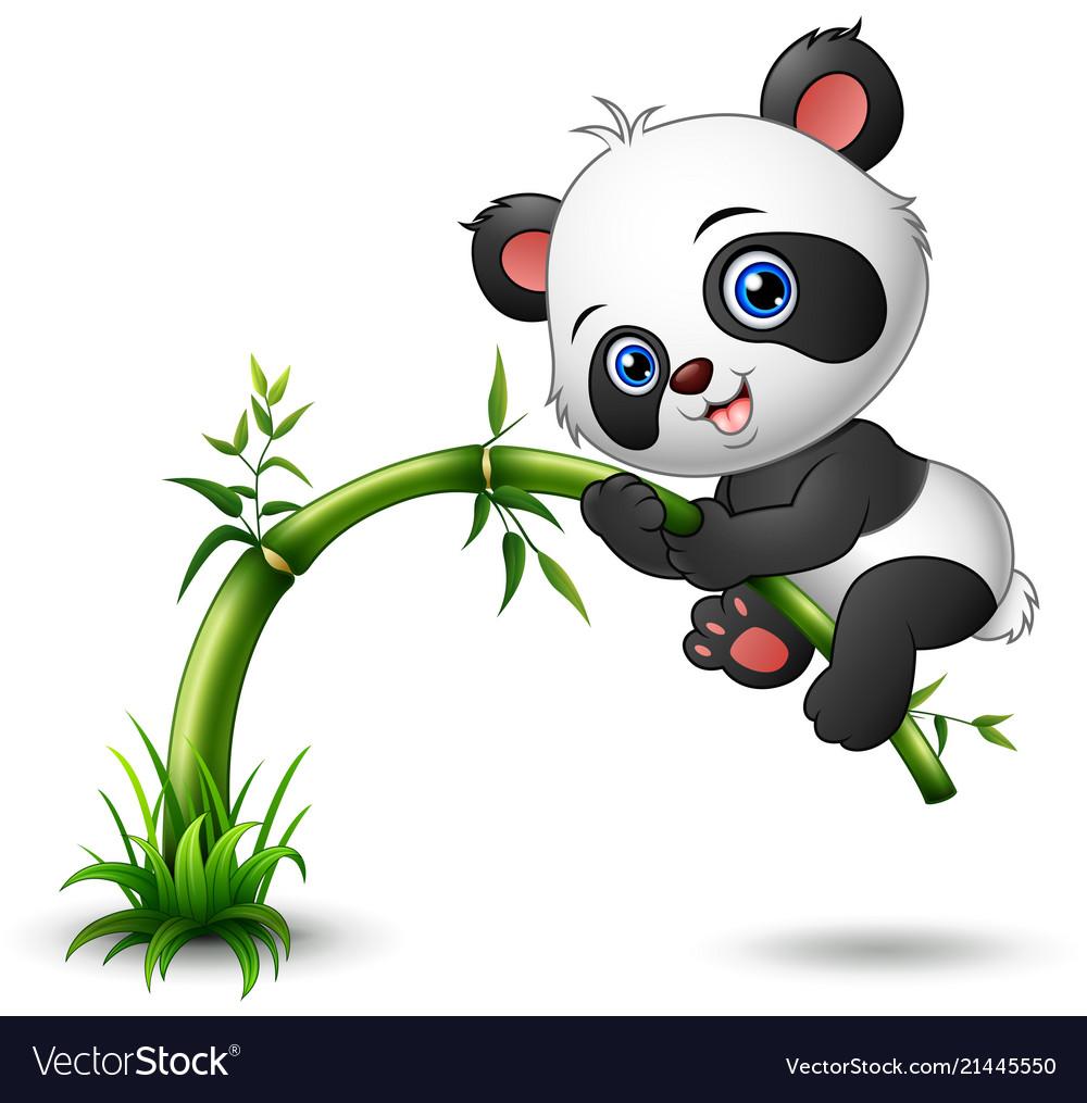 Cute baby panda tree climbing bamboo Royalty Free Vector