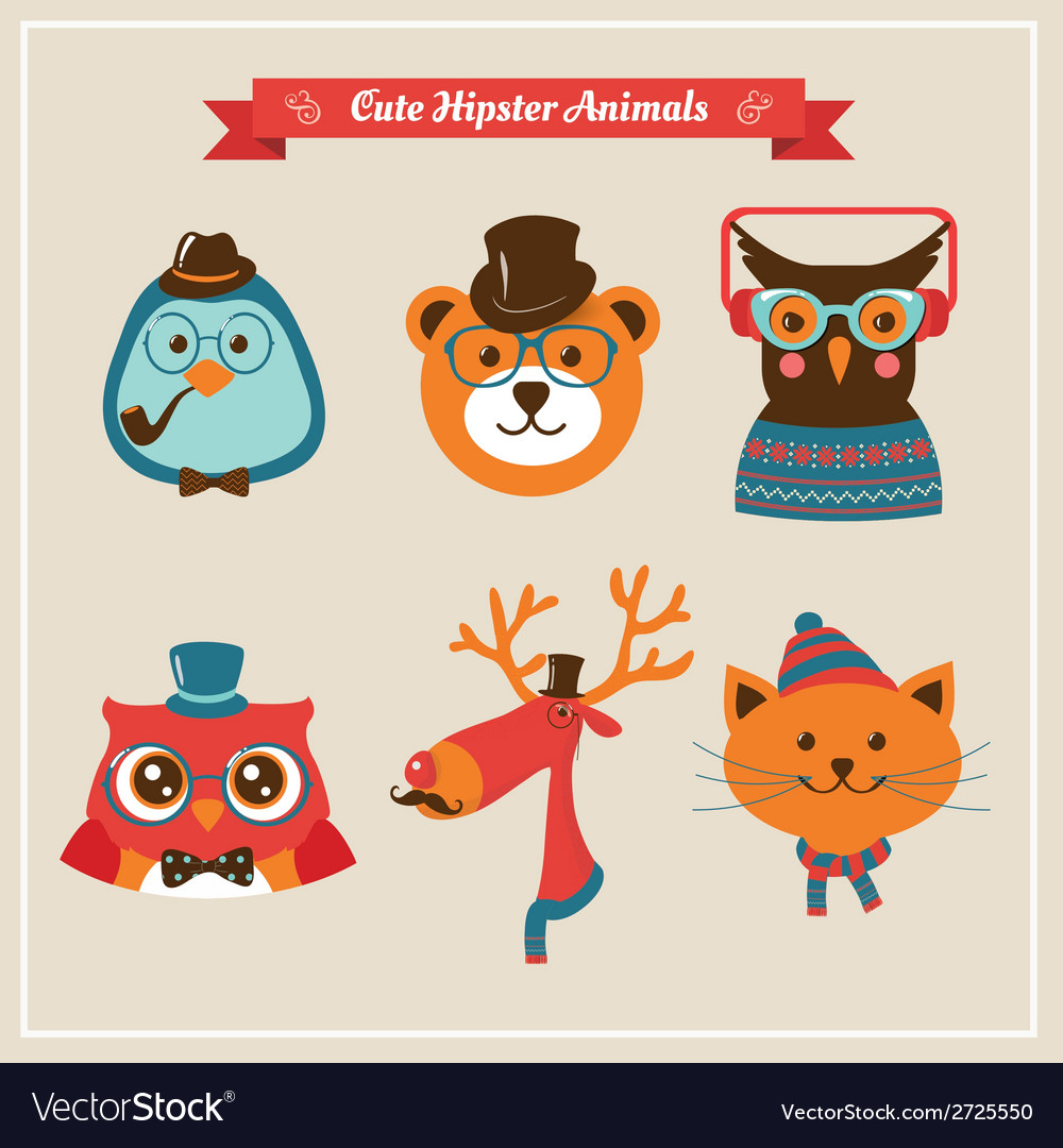 Cute fashion Hipster Animals pets
