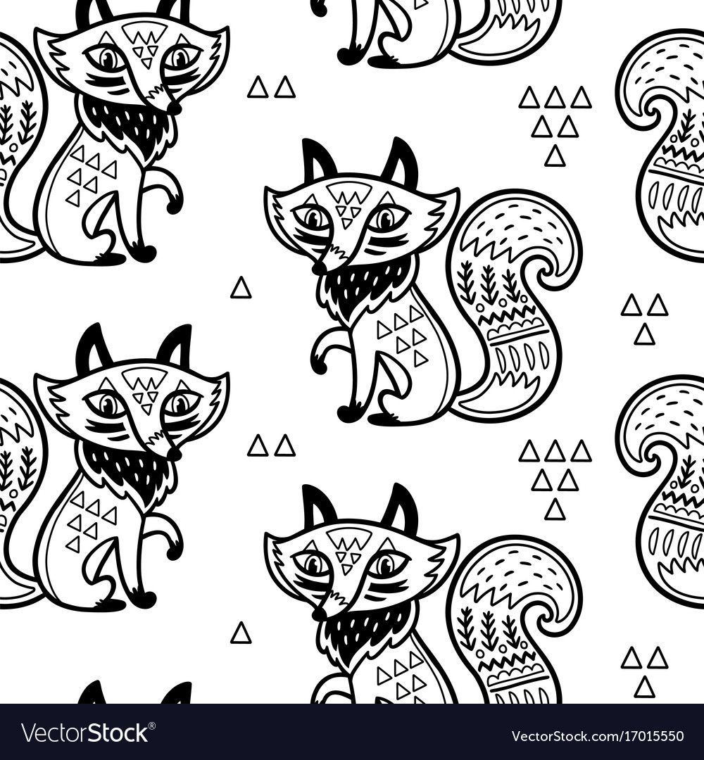 Cute pattern with fox and
