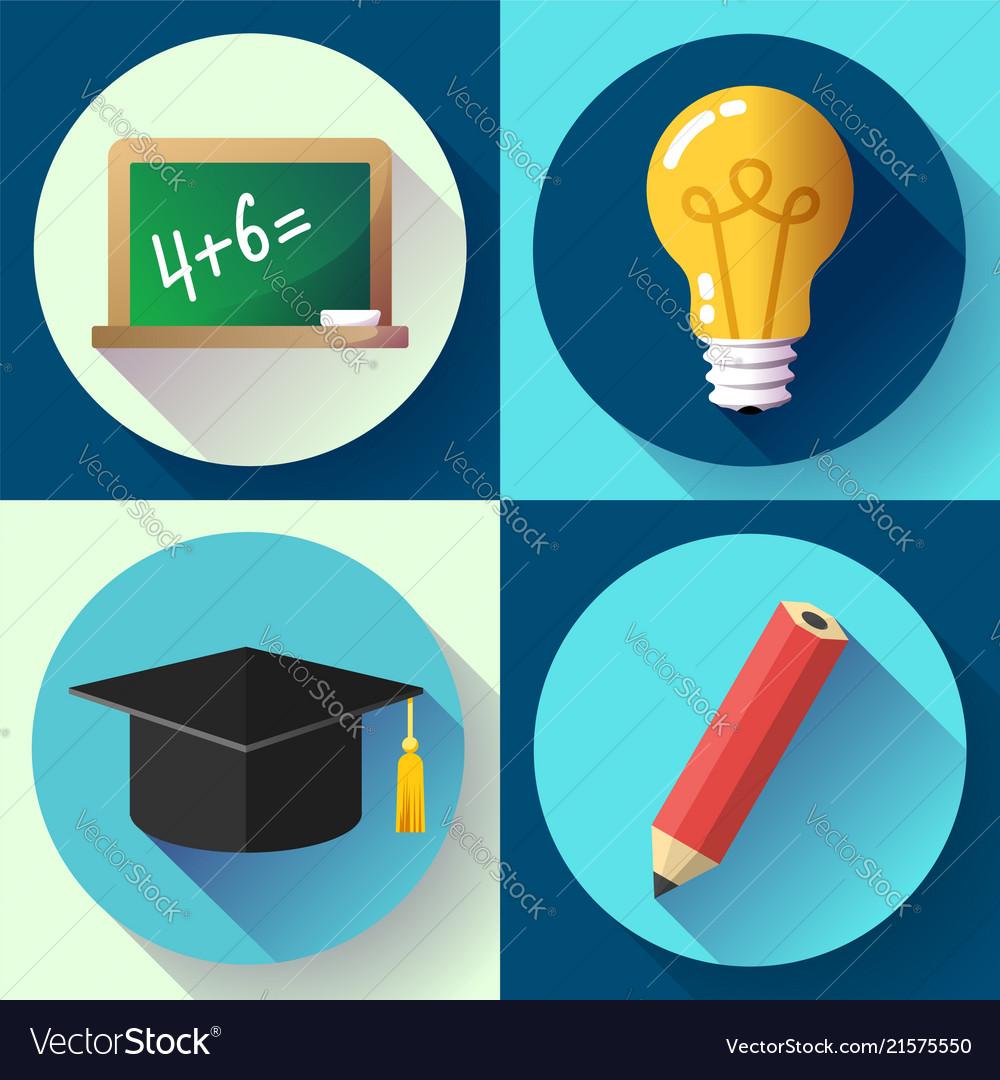 Education icon set on white background lightbulb