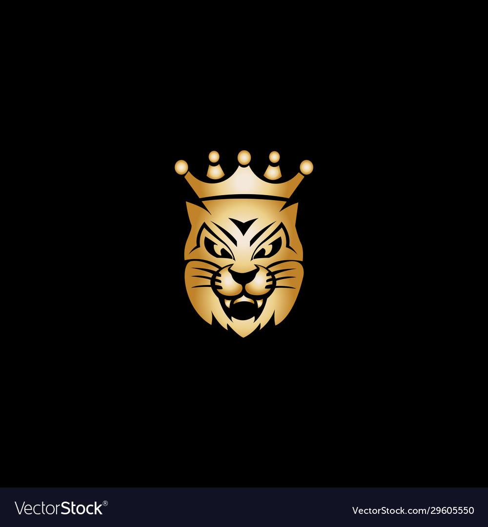 Gold king cat mascot logo