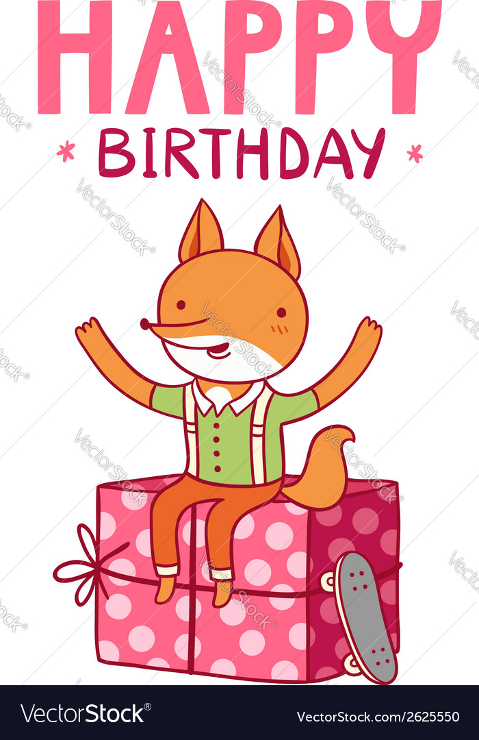 birthday fox Happy birthday fox Royalty Free Vector Image   VectorStock birthday fox