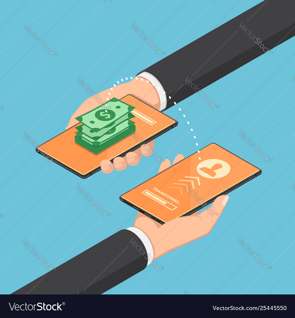 Isometric businessman transferring money through