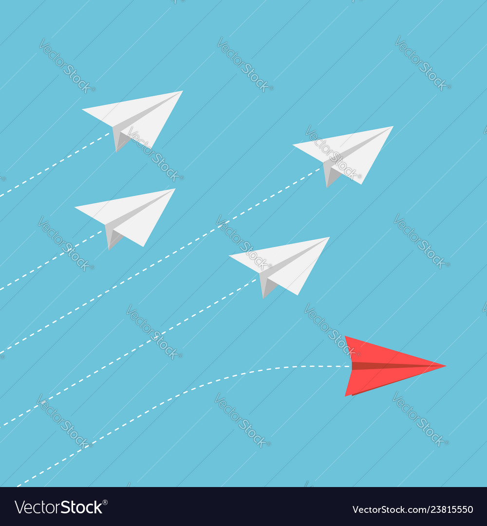 Isometric red paper airplane changing direction