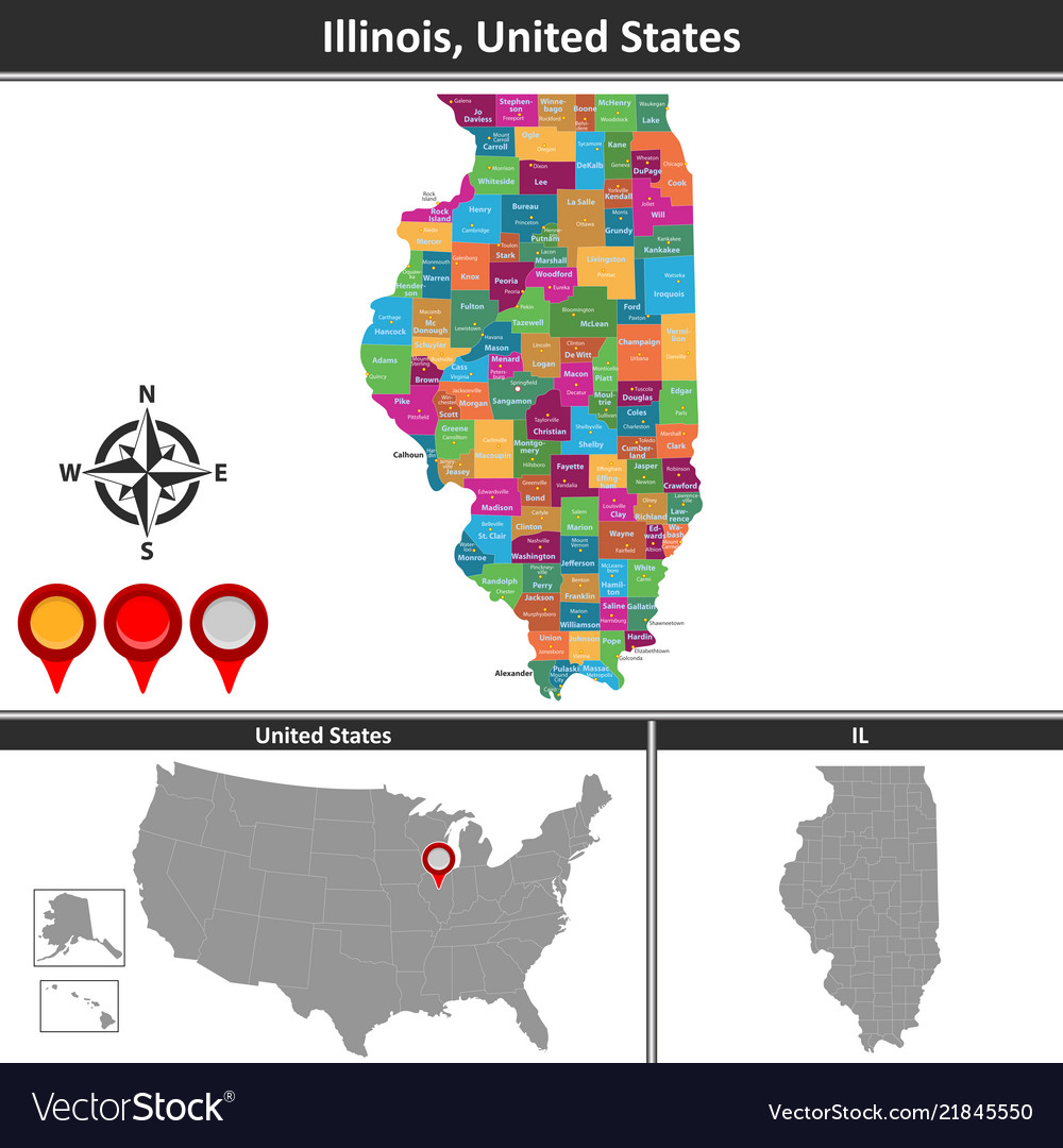 Map Of Illinois Us Royalty Free Vector Image Vectorstock