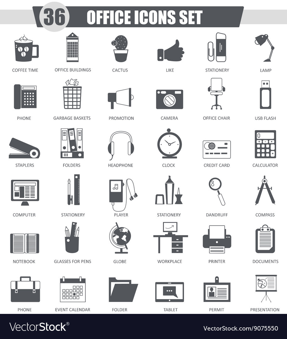 Office black icon set Dark grey classic
