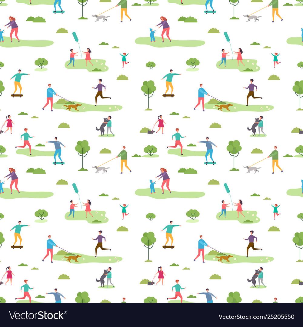 Outdoor activity seamless pattern cartoon