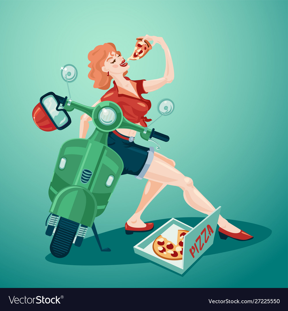 Pizza delivery pin up style young girl with