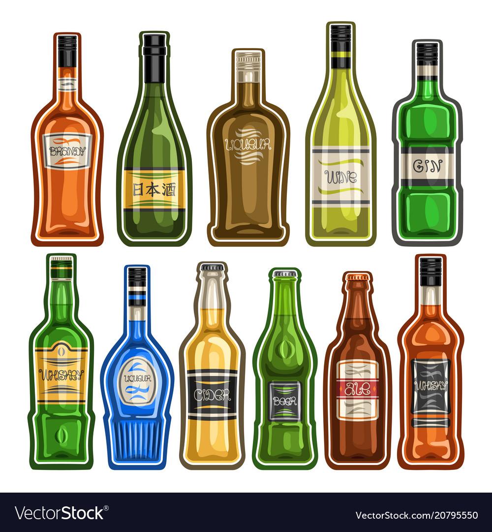 Set of different bottles