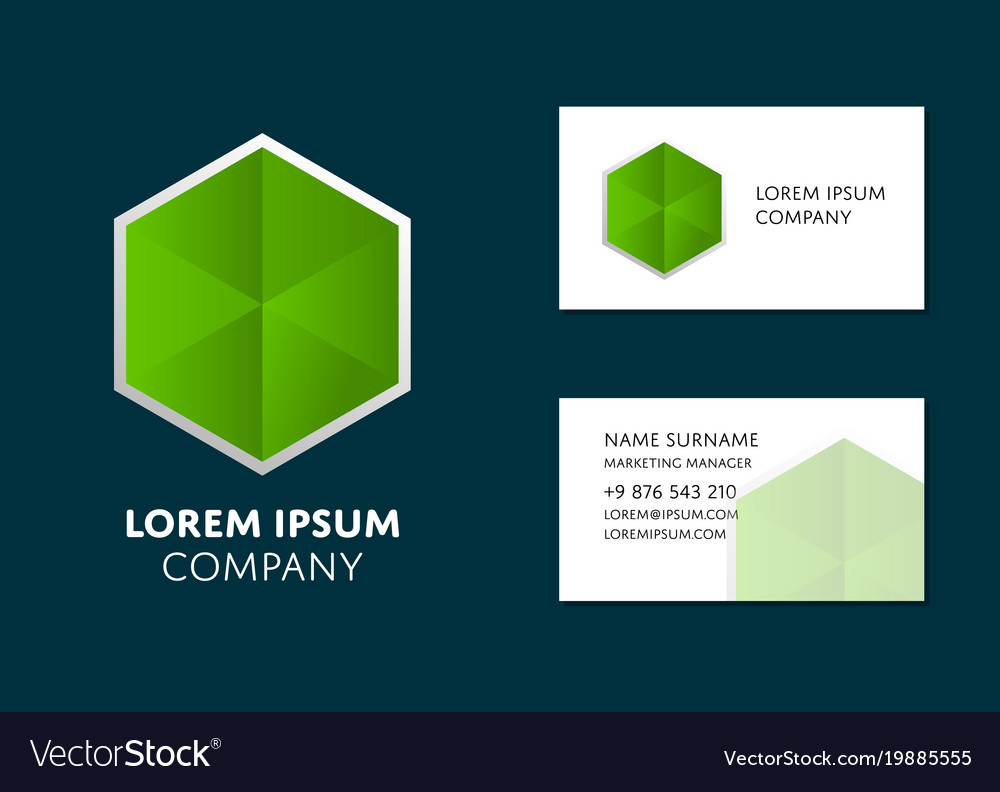 Business card template with green hexagon logo