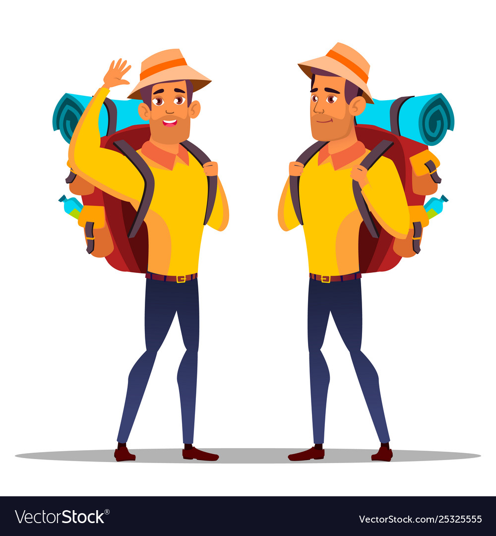 Character man hiker with large backpack