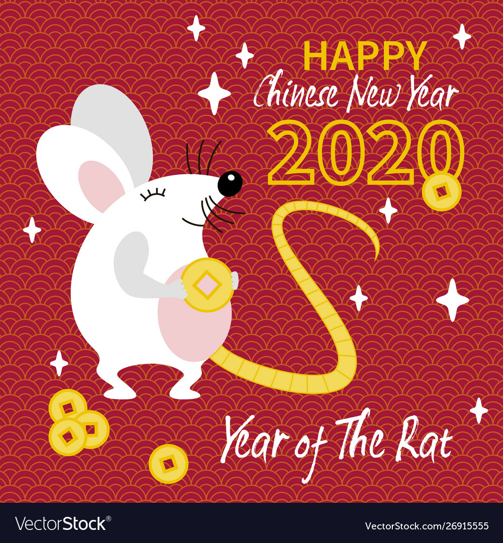 Cute whait rat with gold coin