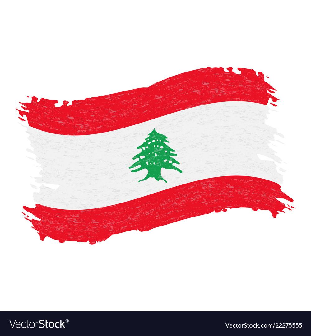Flag of lebanon grunge abstract brush stroke