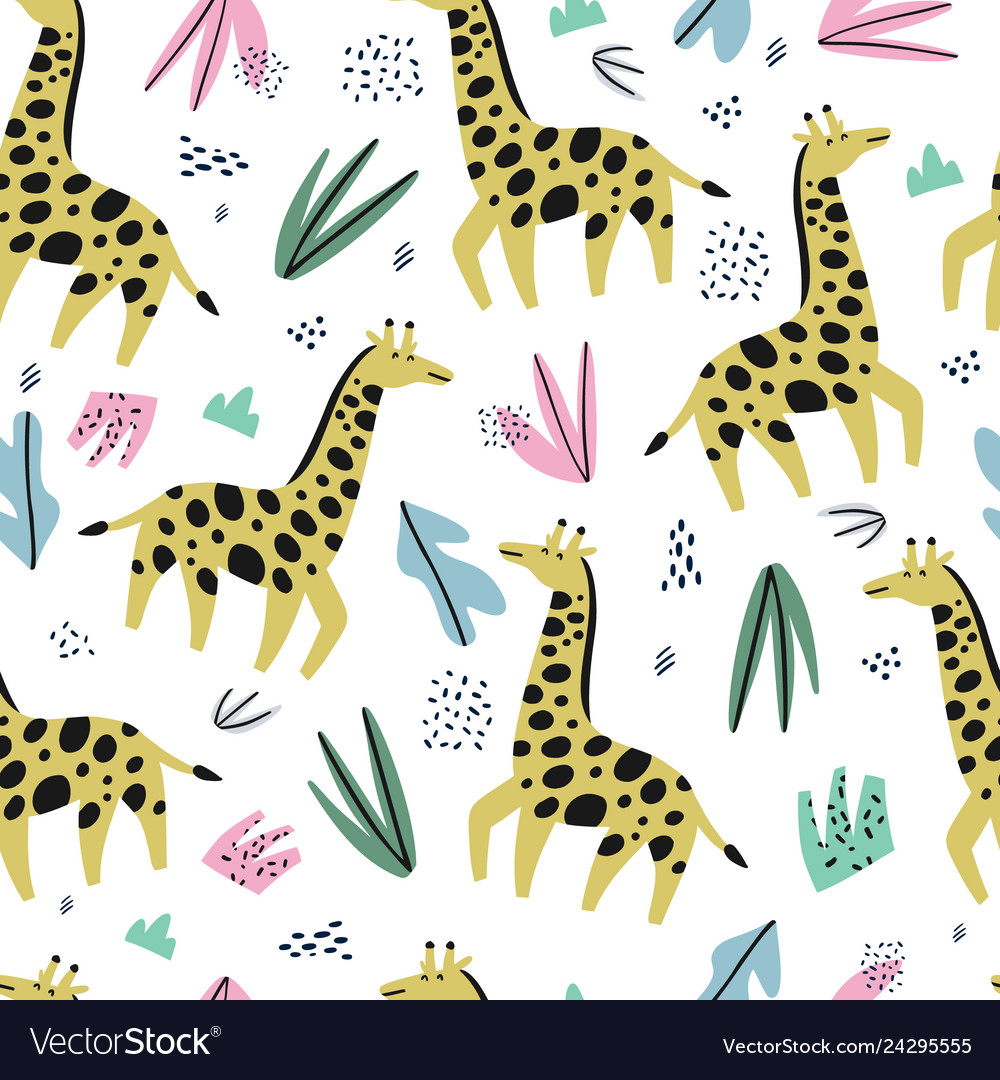 Giraffe flat hand drawn color seamless pattern