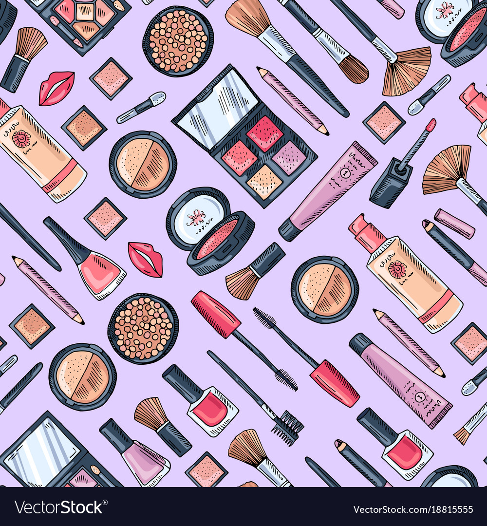 7e6b541310a Hand drawn makeup products pattern or Royalty Free Vector