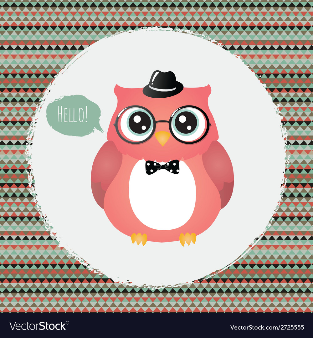 Hipster Owl in Textured Frame design Royalty Free Vector