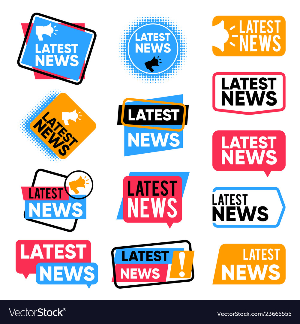 Latest news labels information banners with