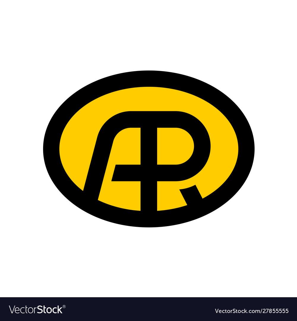 Letters a and r ligature logo oval badge design