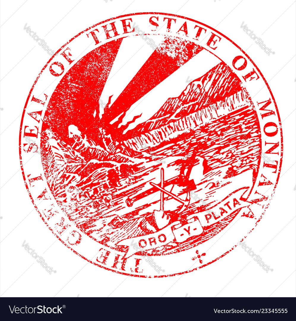 Montana seal rubber stamp vector image on VectorStock
