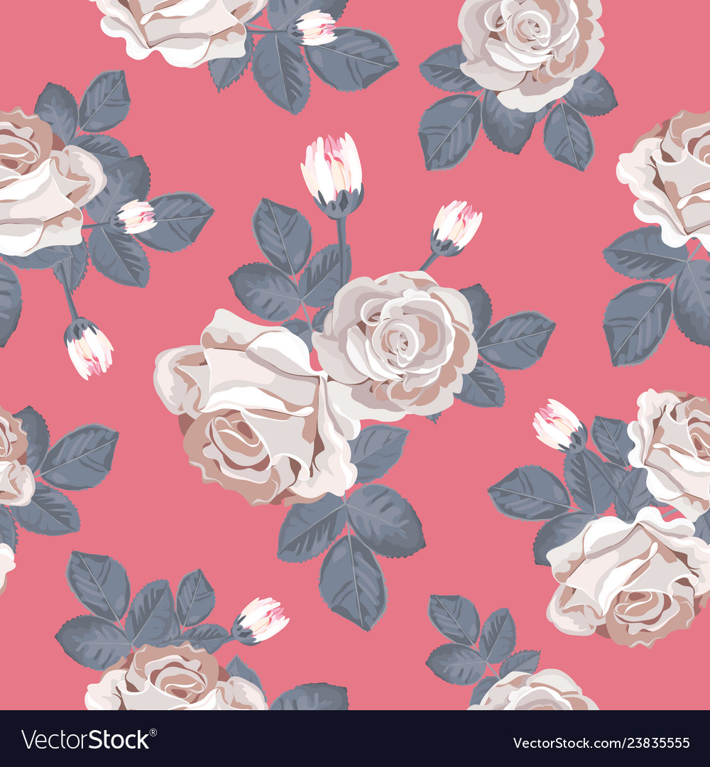 Retro floral seamless pattern white roses with