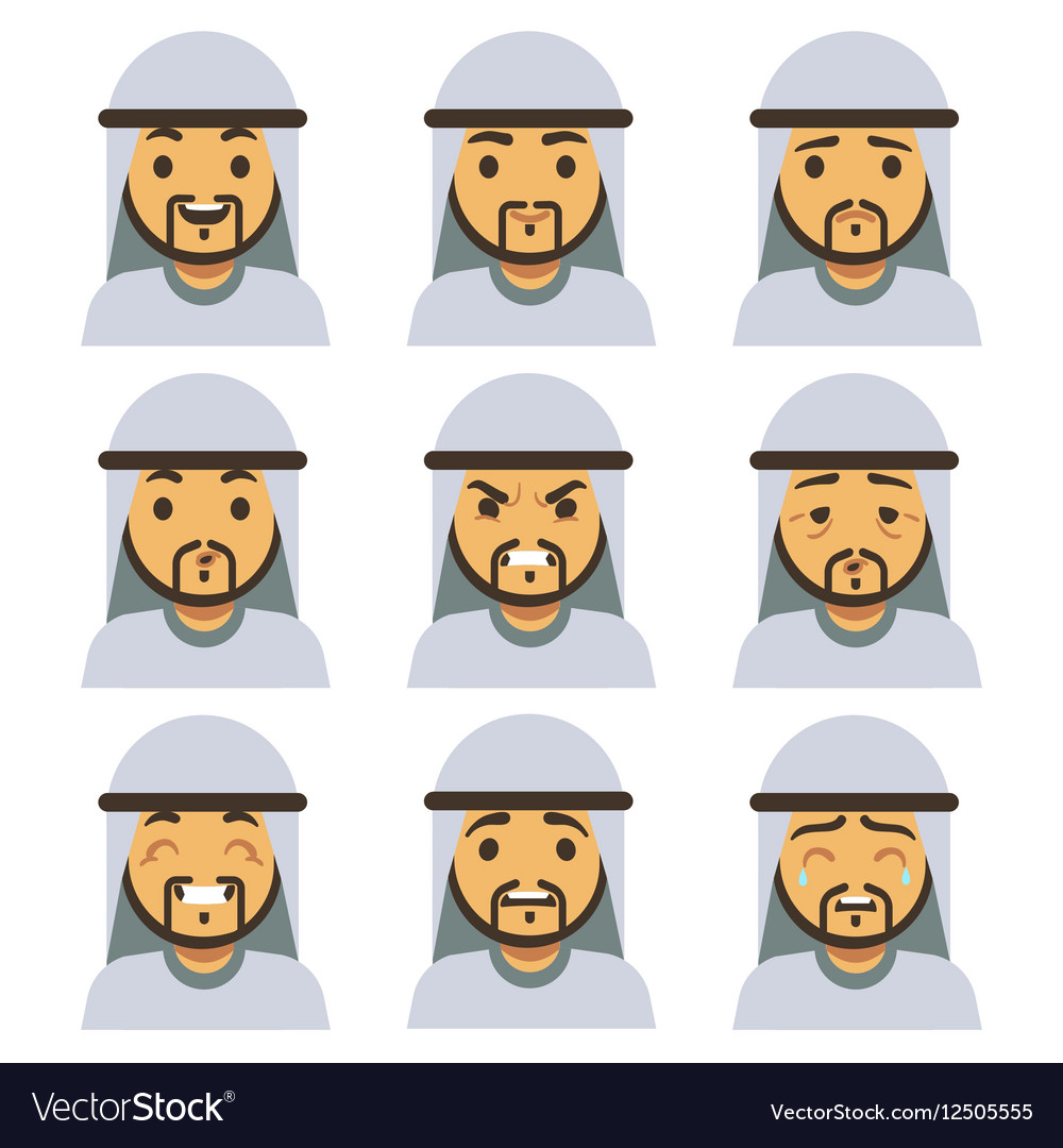 Traditional arab man emotion faces including