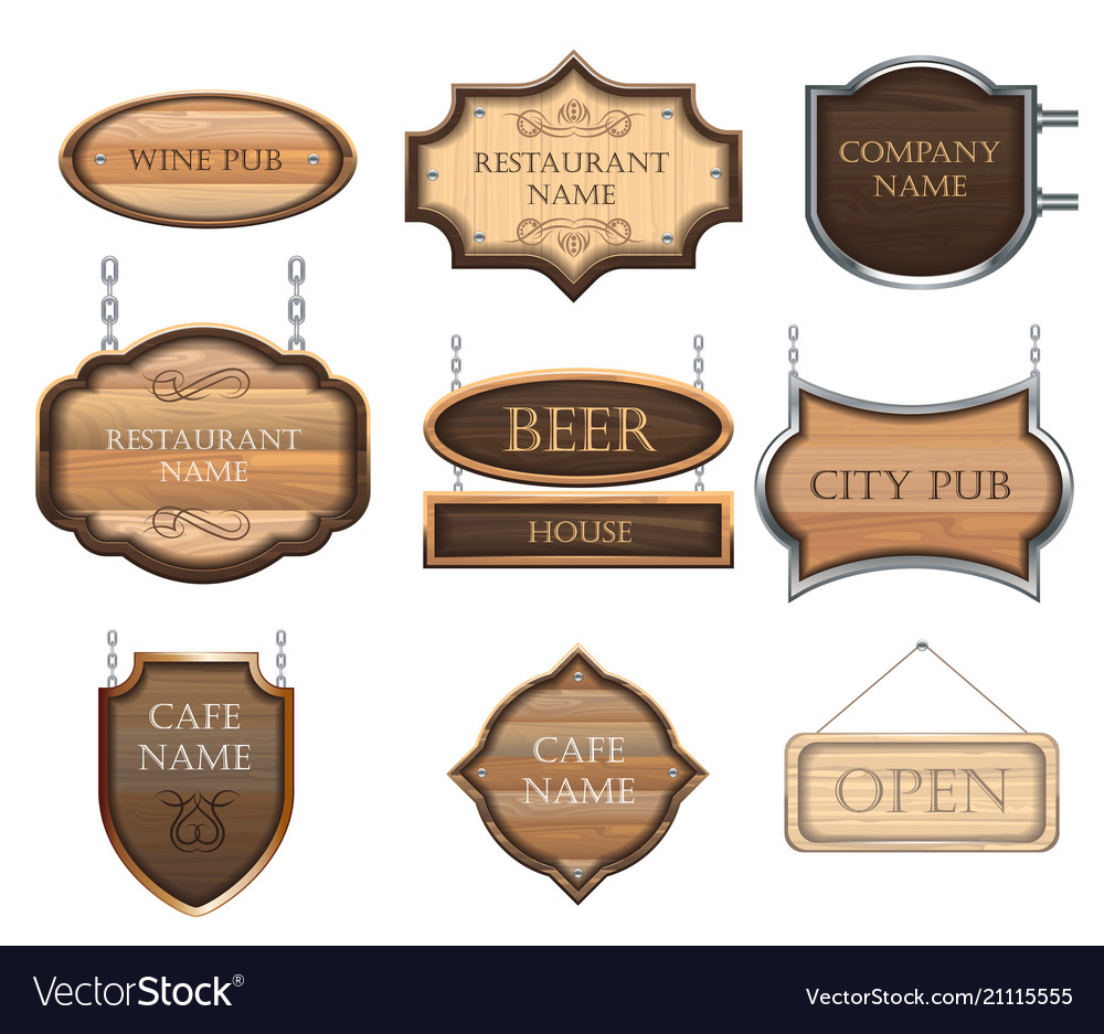 Vintage wooden signboards a set of different