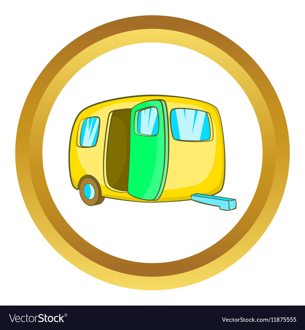 Yelllow camping trailer icon