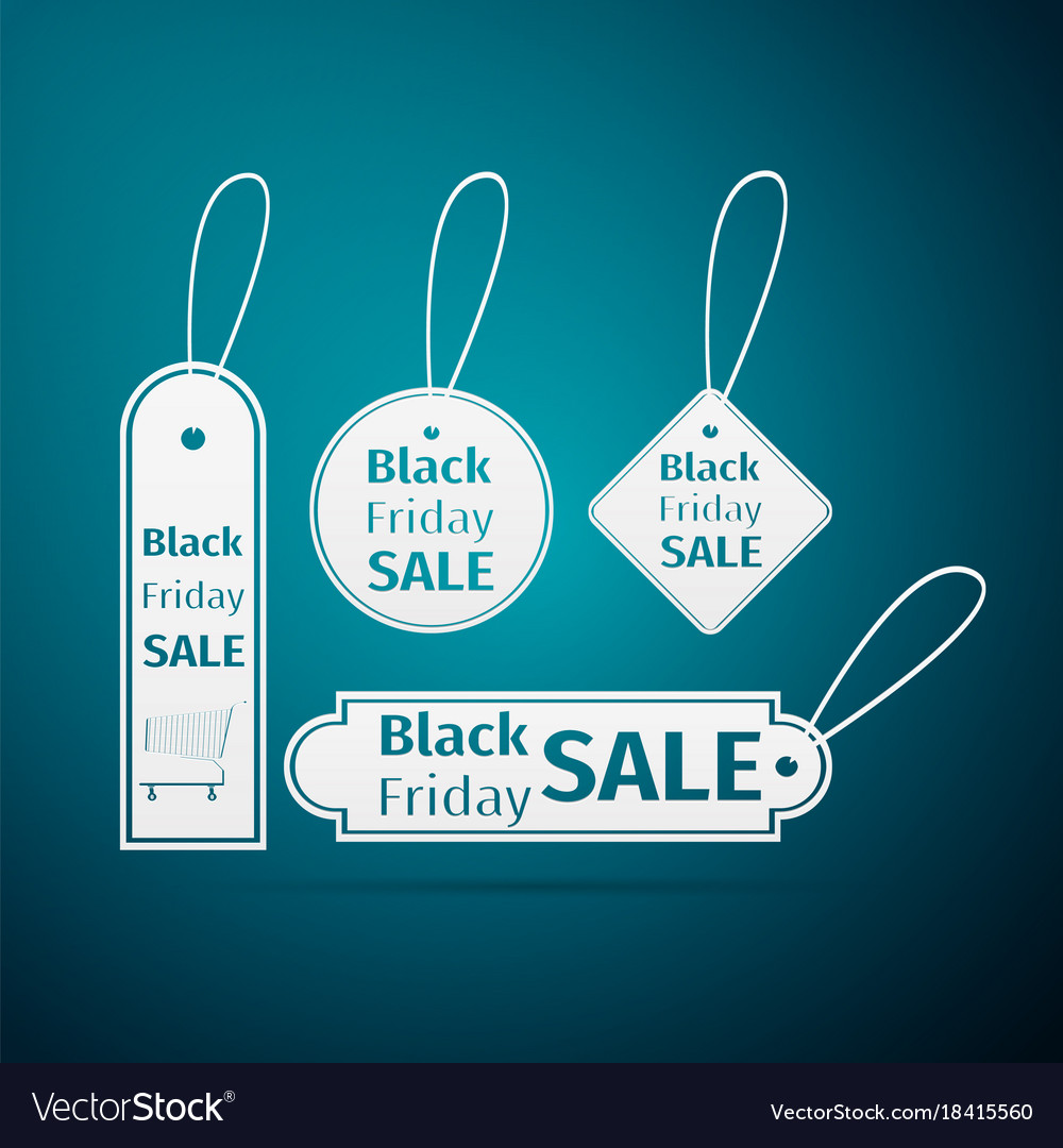 Black friday sales tag icon on blue background