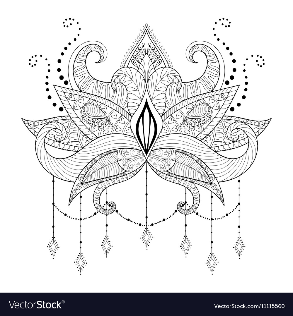 Boho Doodle Lotus Flower Blackwork Tattoo Design Vector Image