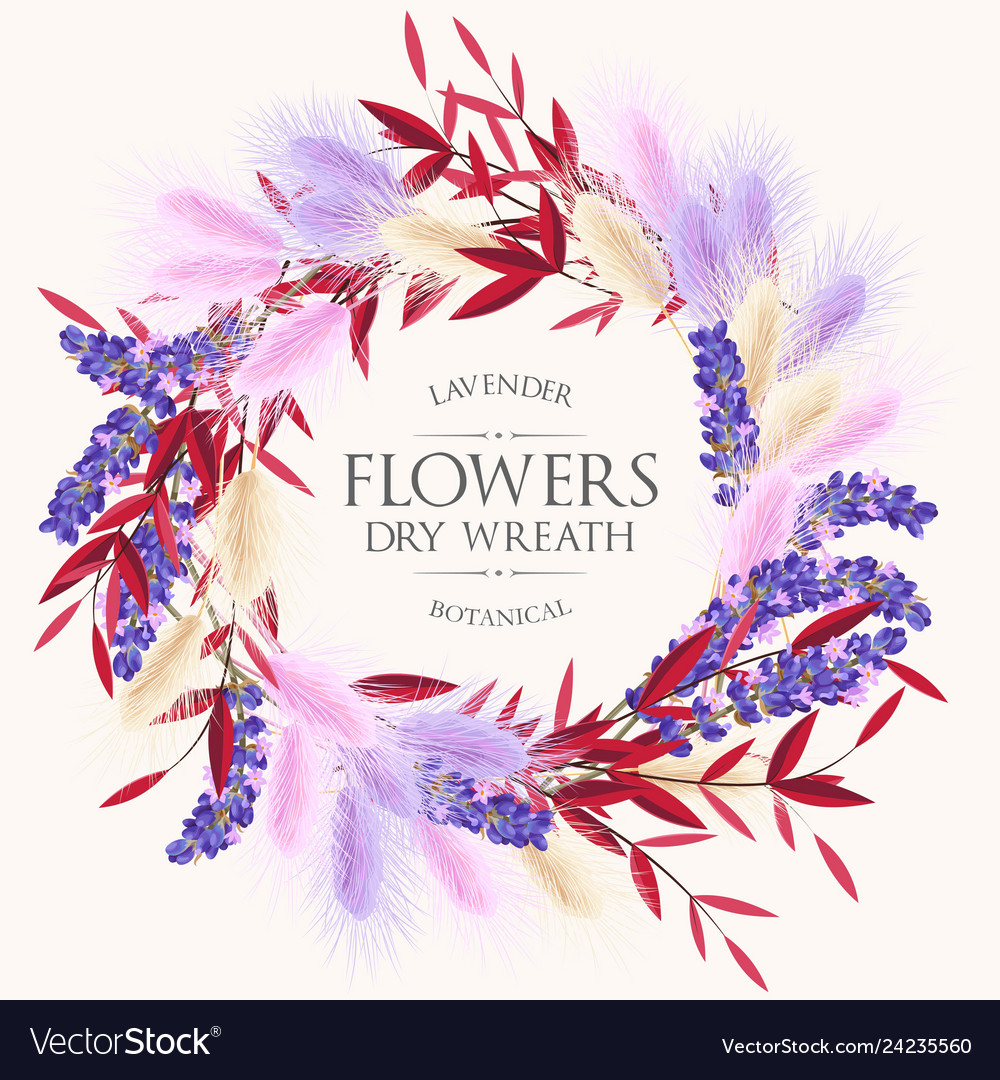 Card with lavender and dry flowers wreath