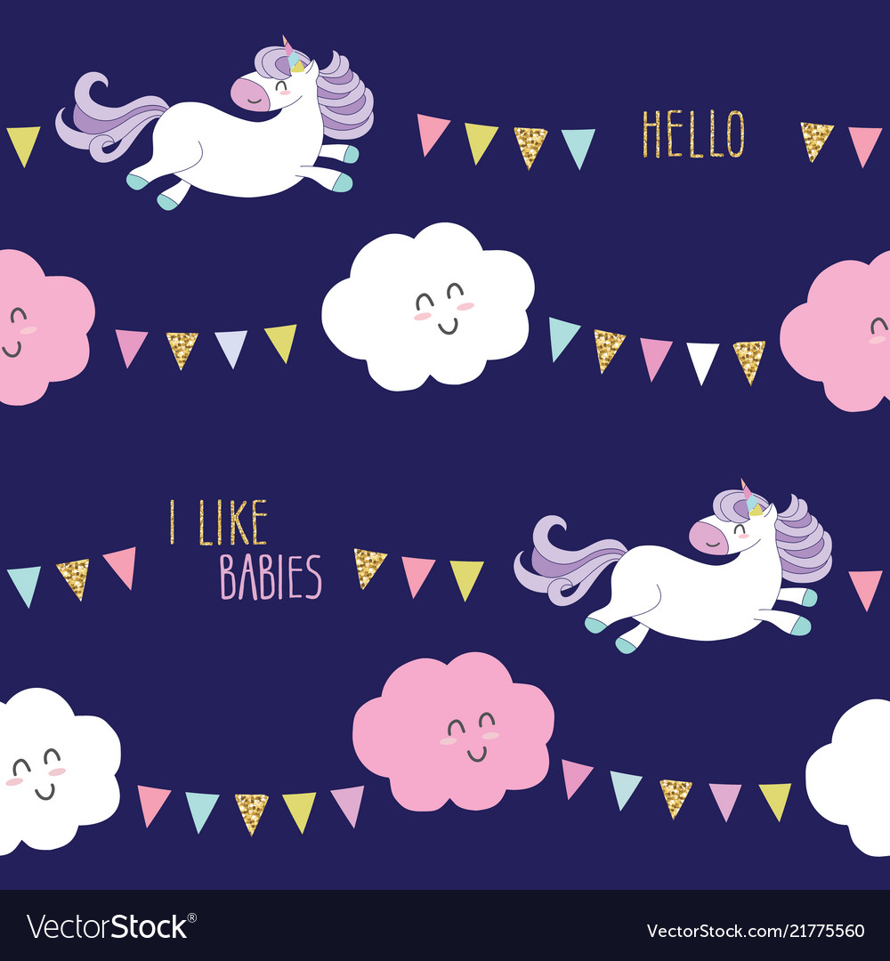 Cute unicorn seamless pattern background with