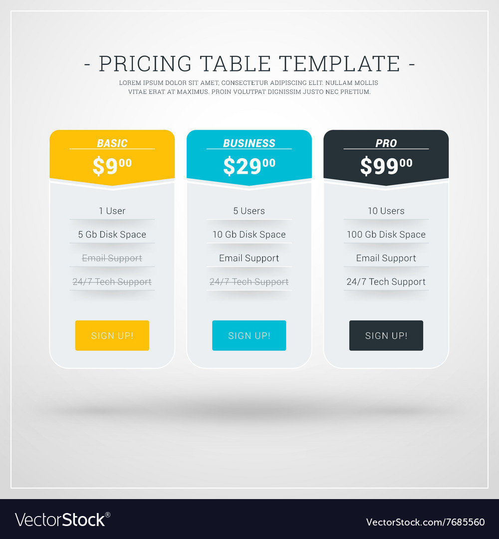 design template for pricing table for websites and