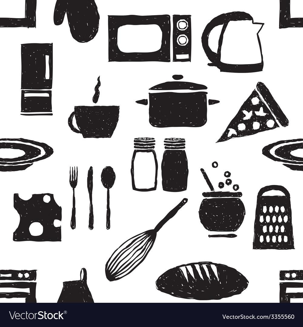 Doodle kitchen seamless pattern