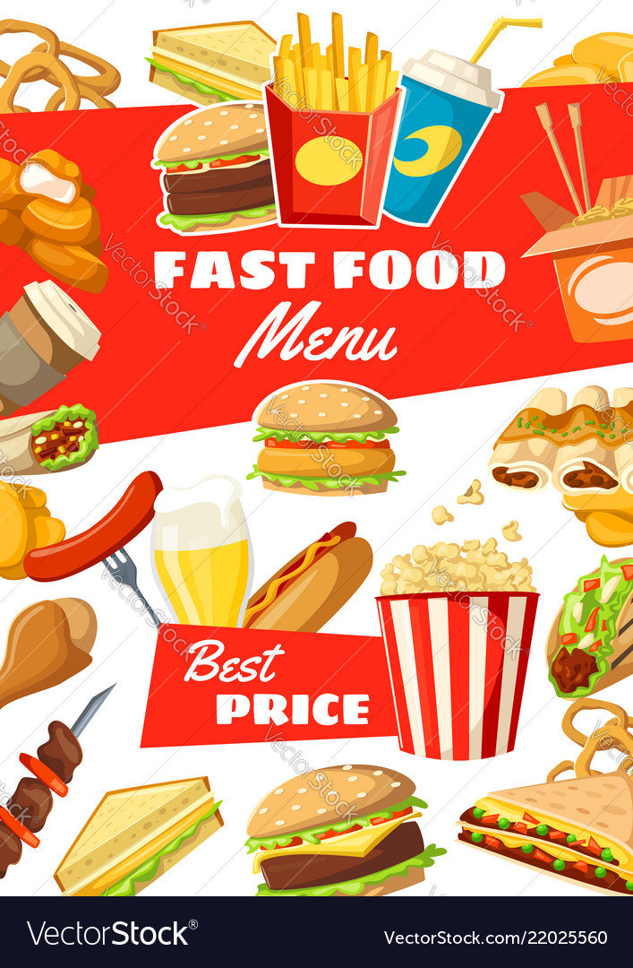 Fast food menu of street meals and drinks
