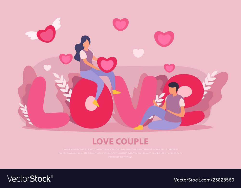 Love couple flat background