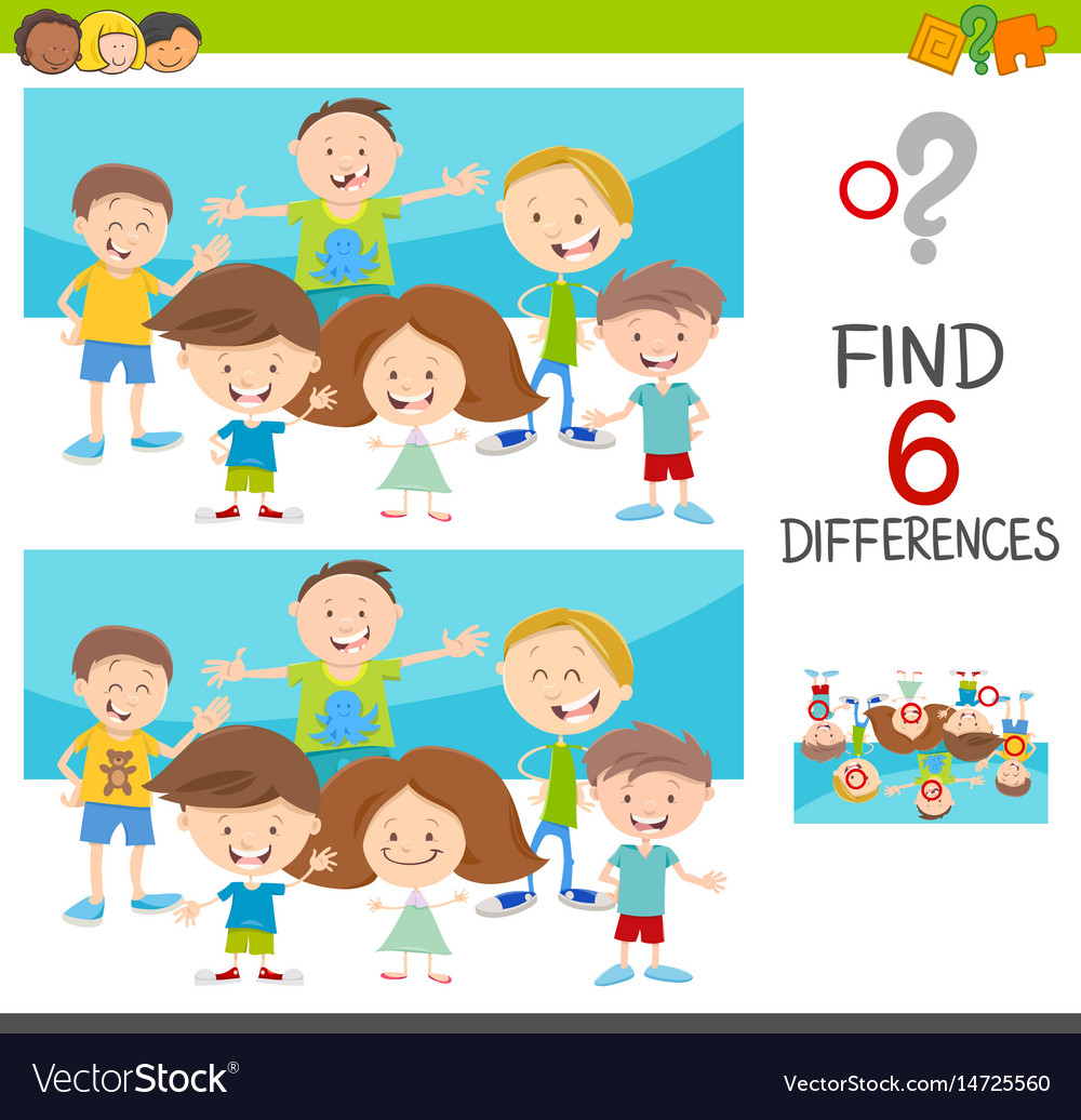 Spot The Differences With Kids Royalty Free Vector Image