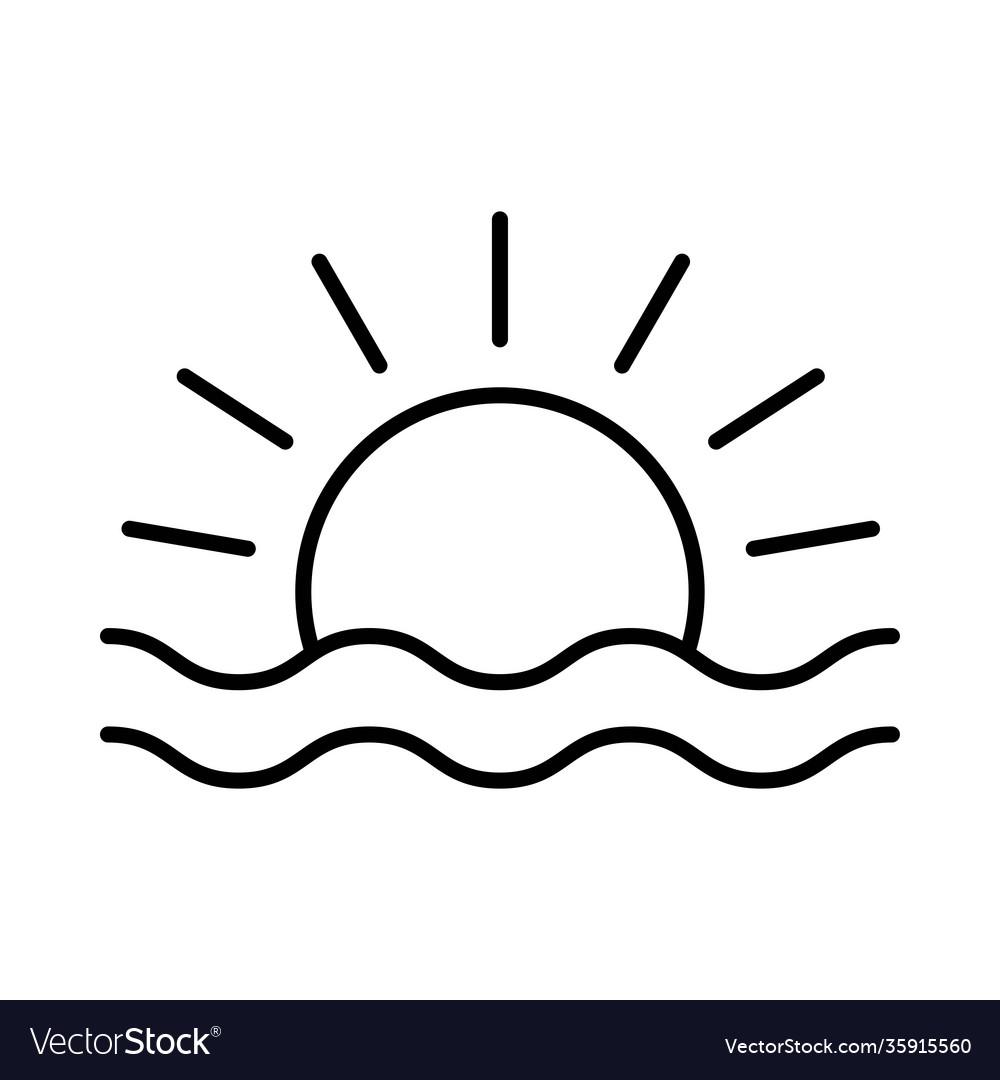 Sunset or sunrise icon on white background